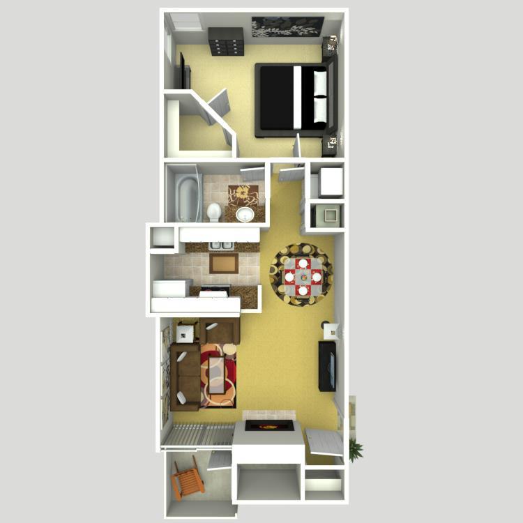645 sq. ft. B floor plan