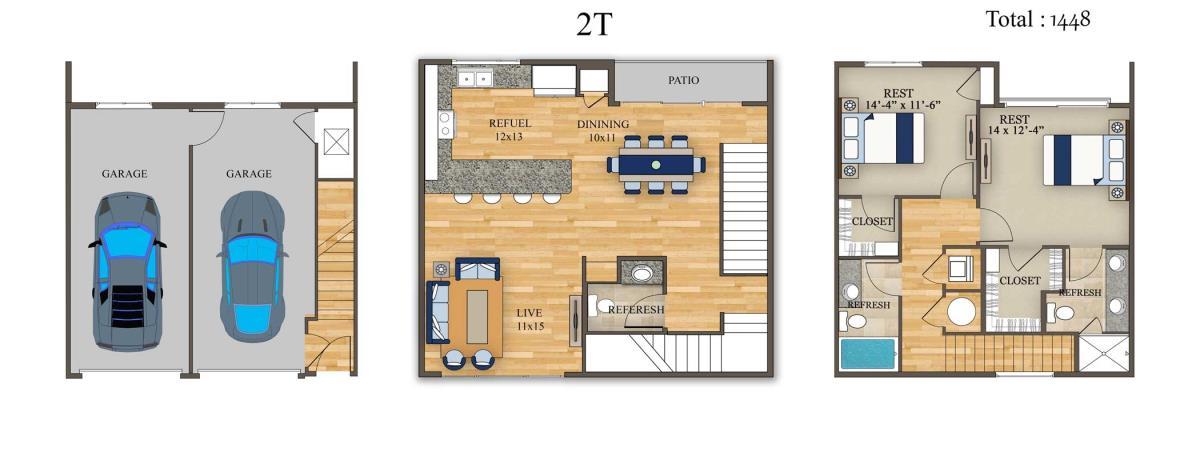 1,448 sq. ft. 2T floor plan