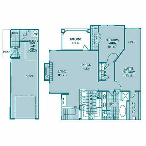 1,200 sq. ft. Callisto floor plan