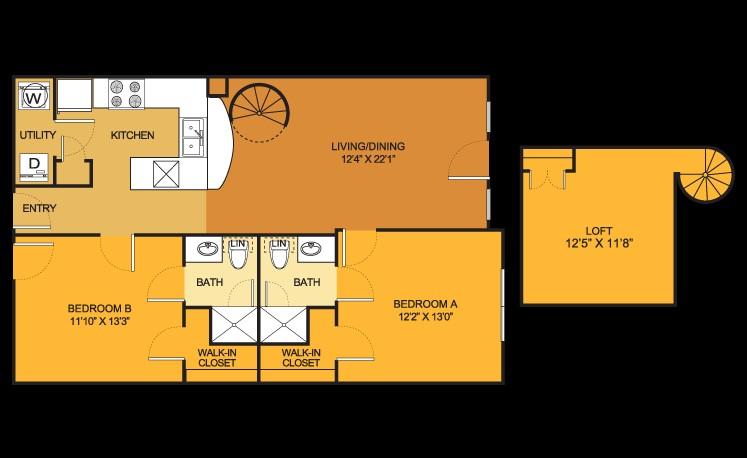 1,123 sq. ft. B8 floor plan