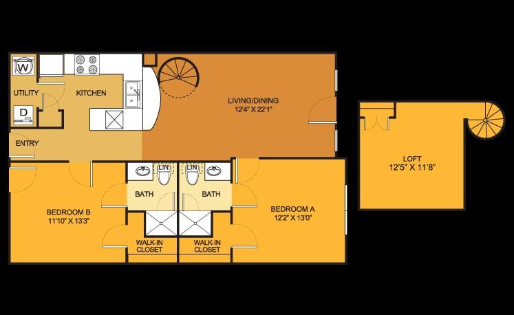 1,123 sq. ft. B8 floor plan