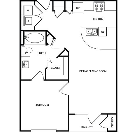 668 sq. ft. A3 floor plan