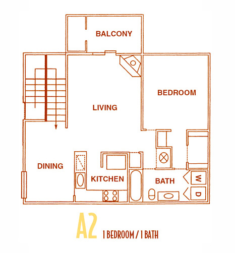800 sq. ft. A2U floor plan