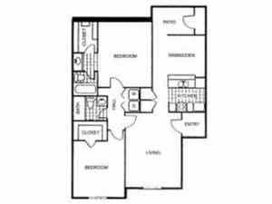 1,005 sq. ft. L floor plan