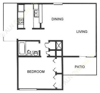729 sq. ft. floor plan