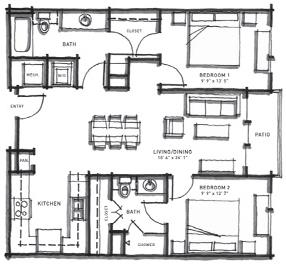 986 sq. ft. B1 floor plan