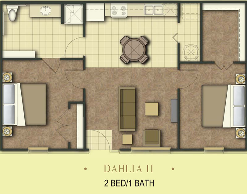 850 sq. ft. Dahlia/60% floor plan