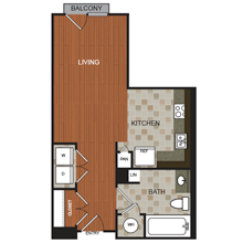 583 sq. ft. C3 floor plan