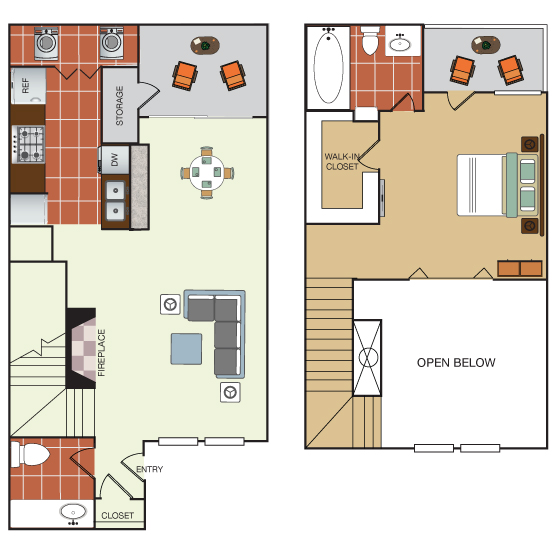 807 sq. ft. THB floor plan