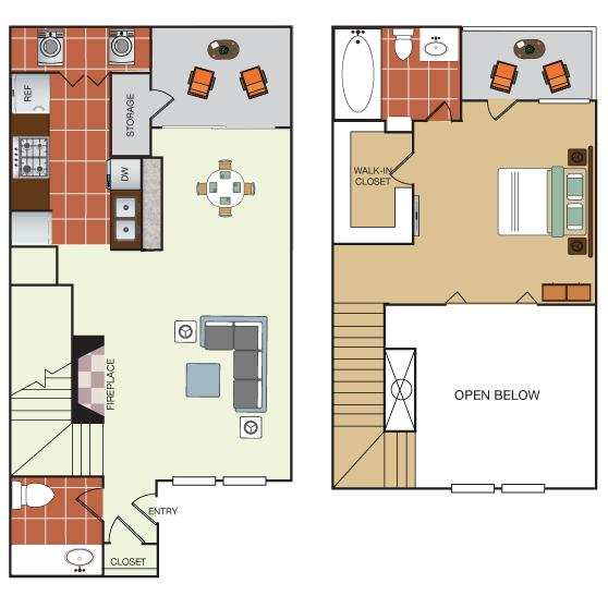 807 sq. ft. THB floor plan