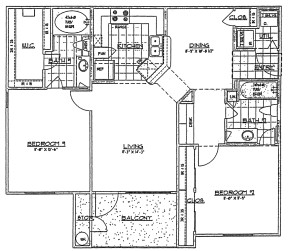 999 sq. ft. G/60% floor plan