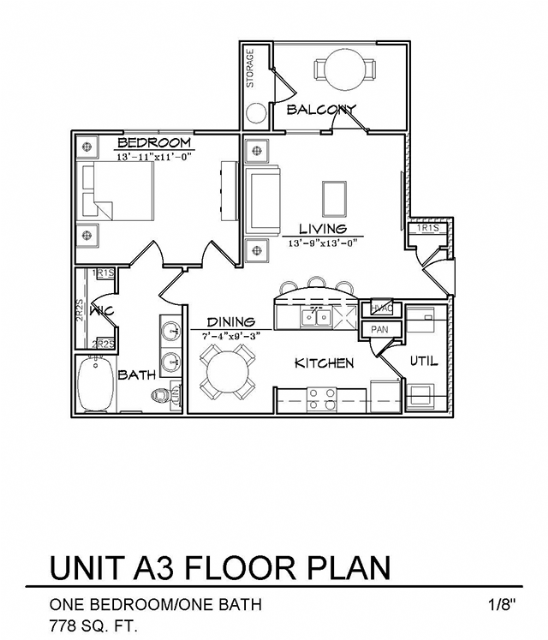 778 sq. ft. A3 floor plan