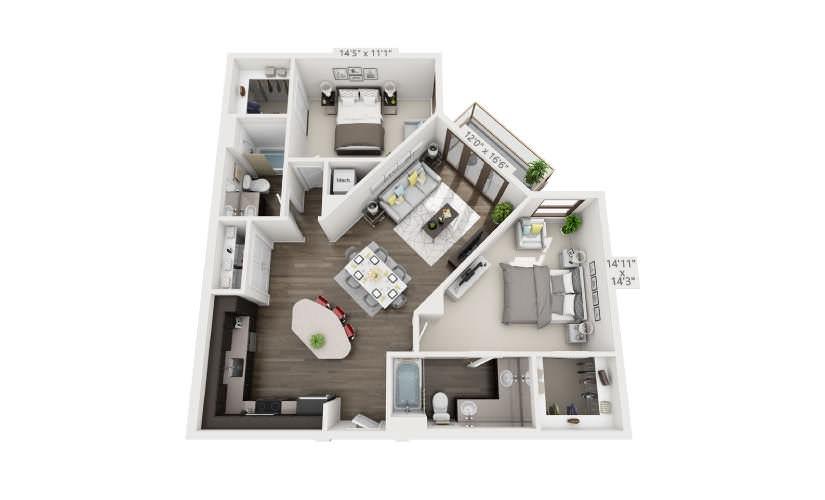 1,146 sq. ft. B2 floor plan