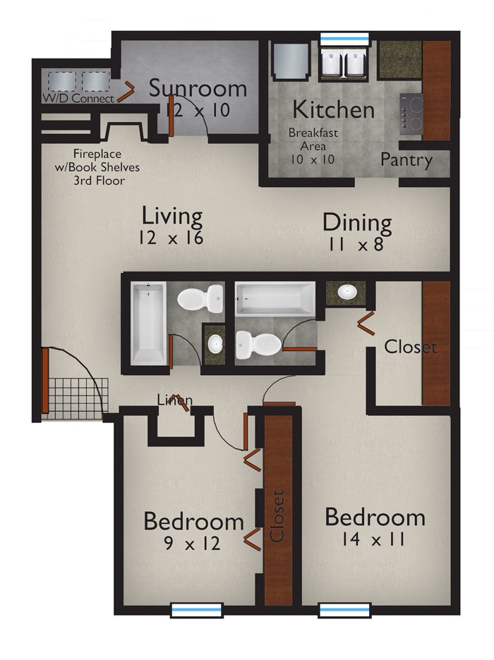 1,155 sq. ft. Caspian floor plan