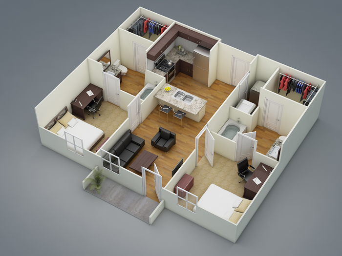 794 sq. ft. B1 floor plan