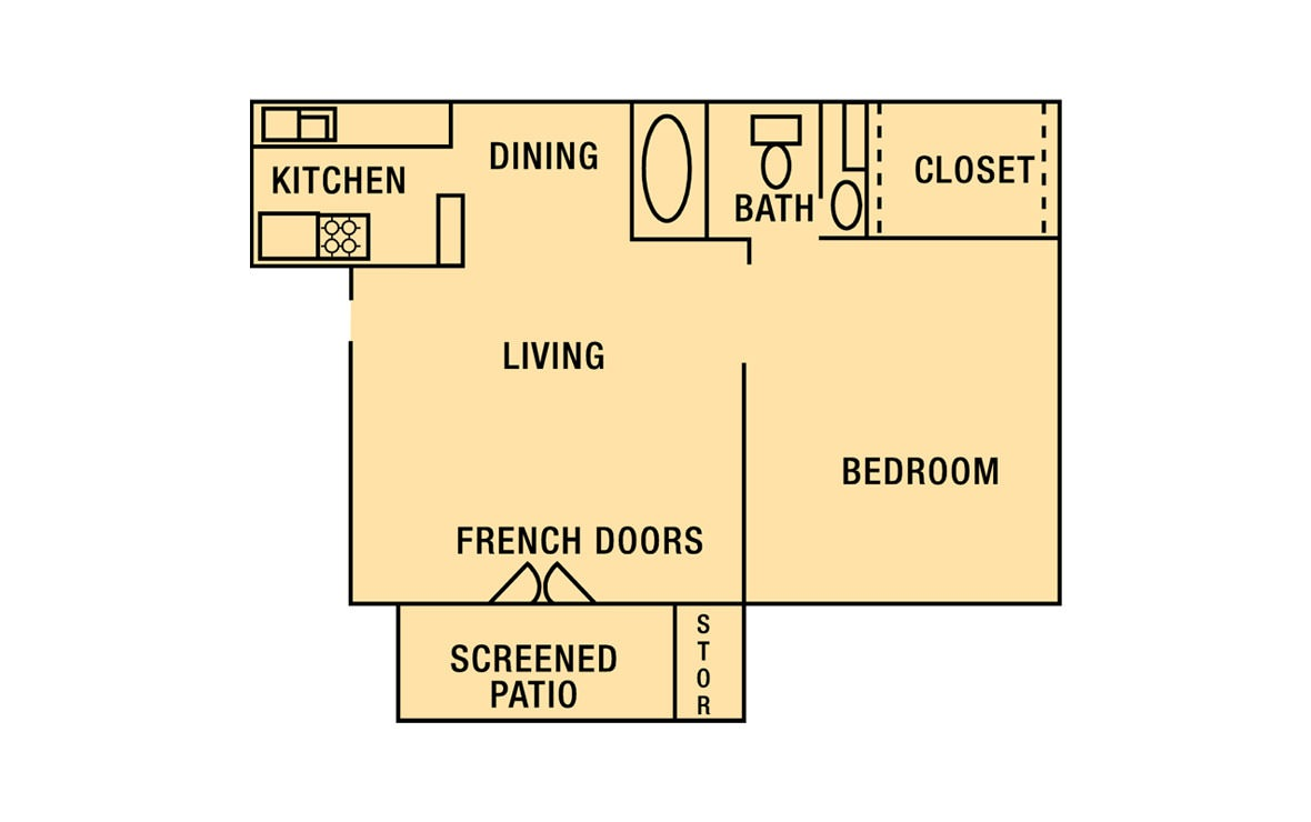 537 sq. ft. A1 floor plan