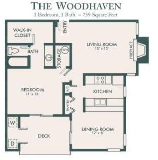 759 sq. ft. Woodhaven floor plan
