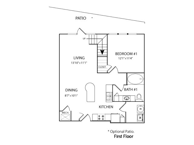 1,124 sq. ft. BLA floor plan