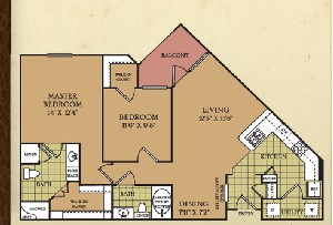 1,038 sq. ft. B2 floor plan