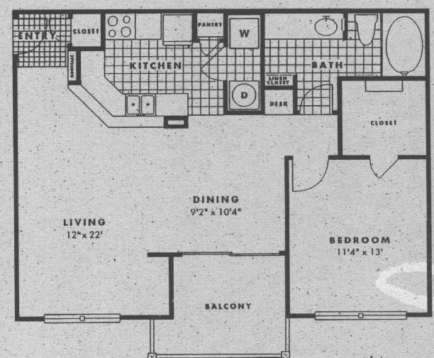 852 sq. ft. A4G floor plan