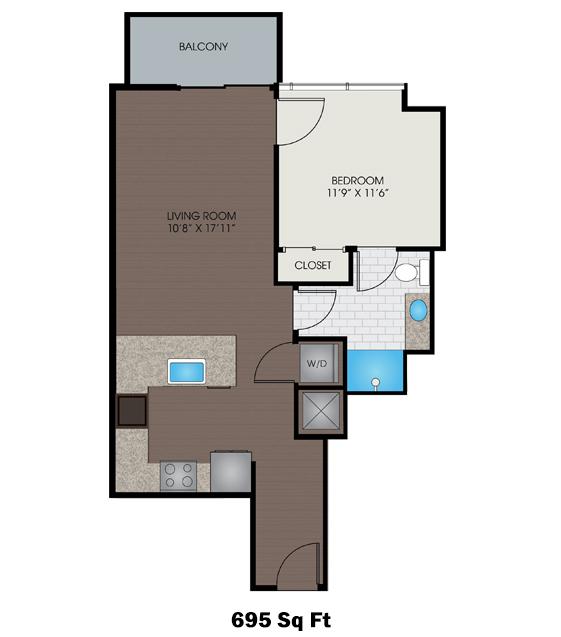 695 sq. ft. B1 floor plan