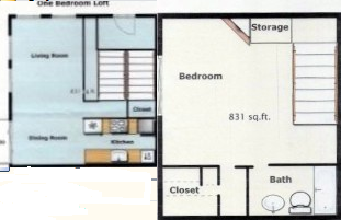 831 sq. ft. SA-1 floor plan