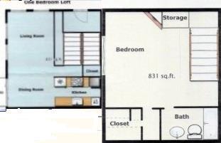 831 sq. ft. SA-1 floor plan
