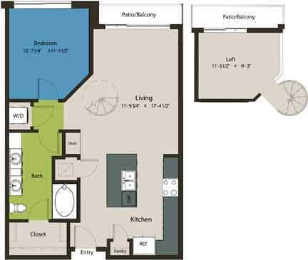 949 sq. ft. A2-L1 floor plan