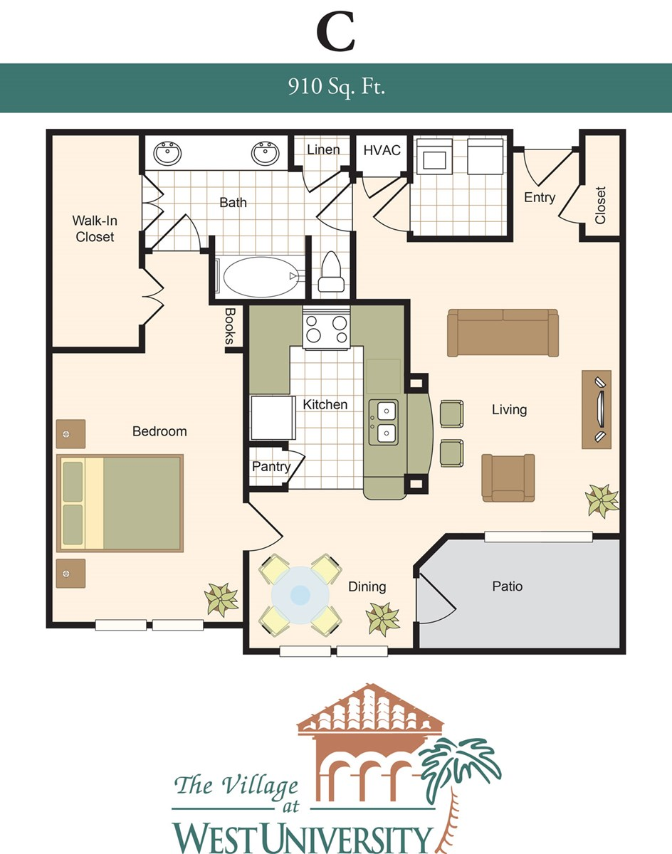 910 sq. ft. C floor plan