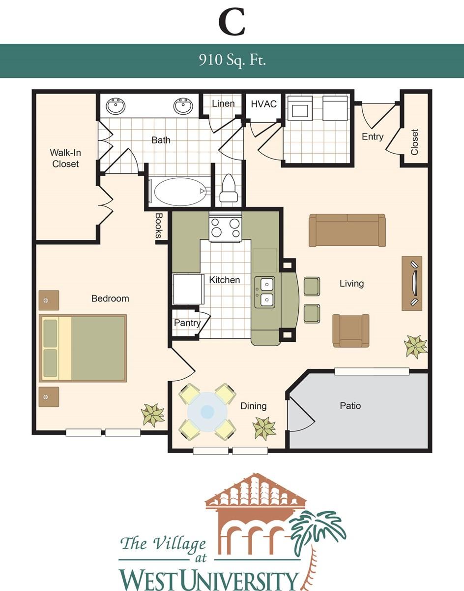 910 sq. ft. C floor plan