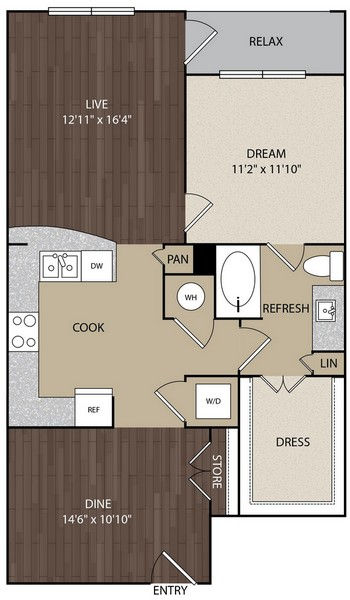 882 sq. ft. A8A floor plan