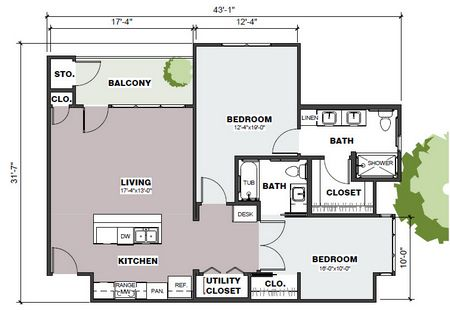 1,092 sq. ft. Marshall/Mkt floor plan