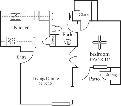 481 sq. ft. A1 floor plan