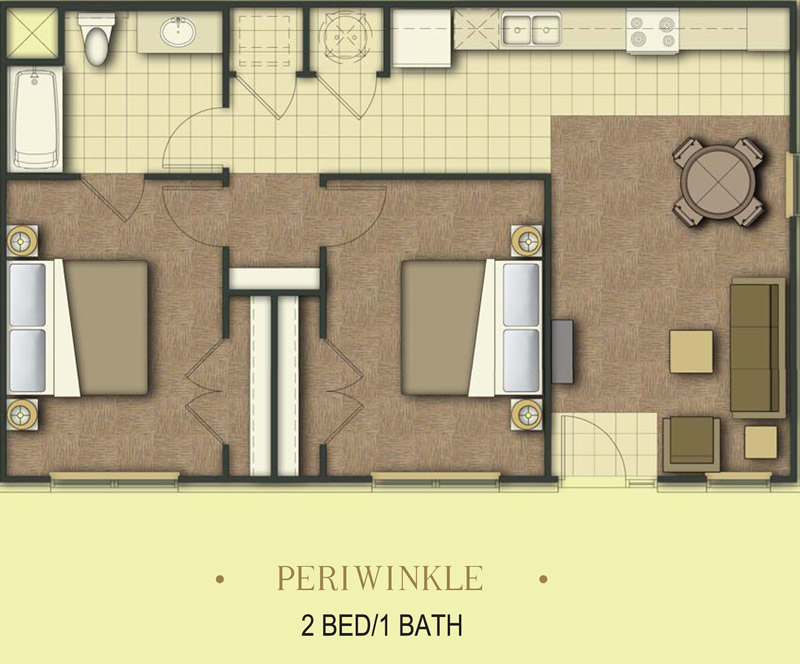 850 sq. ft. Periwinkle/50% floor plan