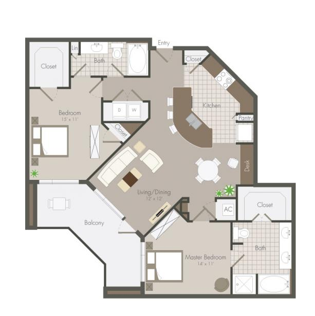 1,261 sq. ft. Nett floor plan