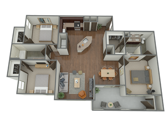 1,393 sq. ft. C1 floor plan