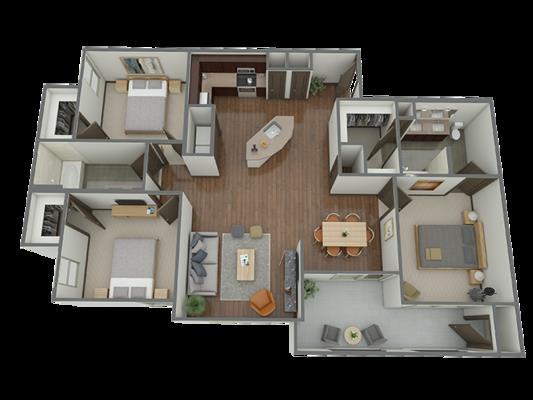 1,393 sq. ft. C1 floor plan