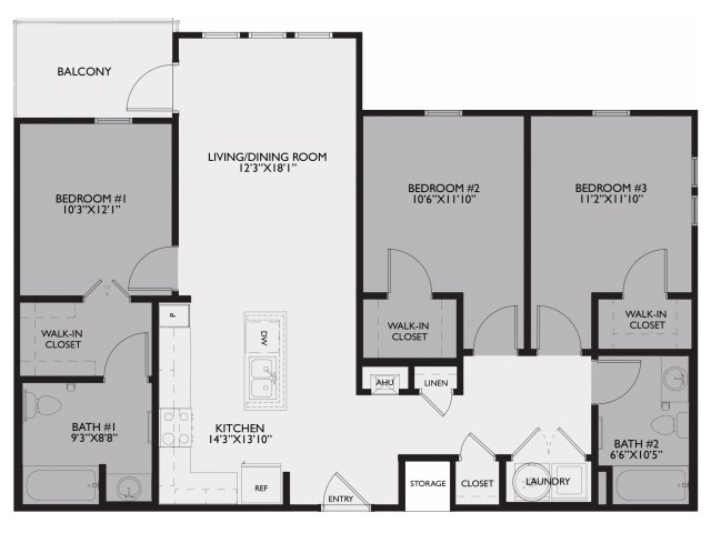 1,206 sq. ft. Carnaby/60% floor plan