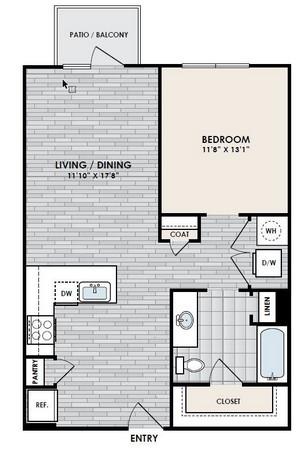 740 sq. ft. A3 floor plan
