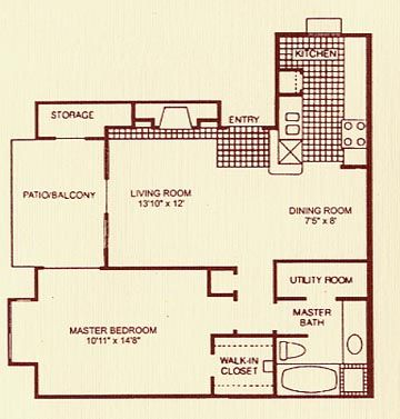 730 sq. ft. 1B floor plan