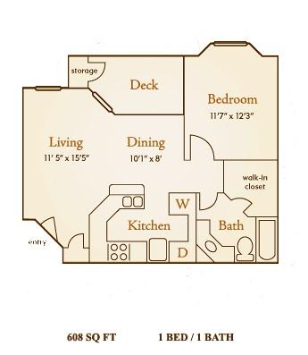 608 sq. ft. A1 floor plan