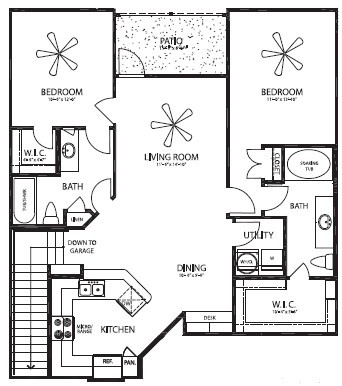 1,172 sq. ft. Guadalupe Dos/G floor plan