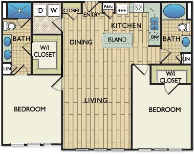 1,177 sq. ft. MONDARIAN floor plan