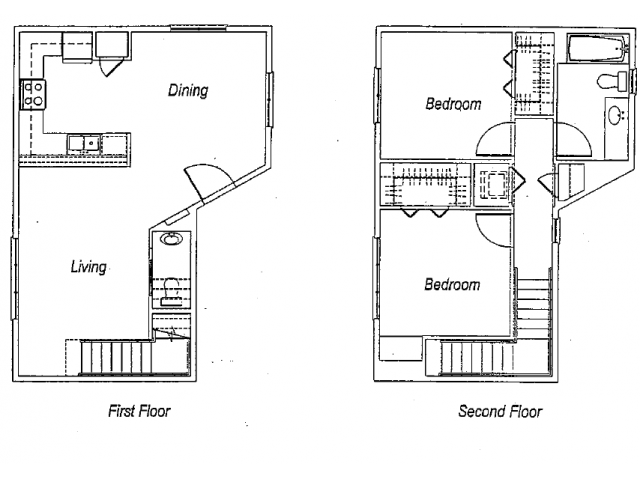 1,108 sq. ft. B2 floor plan