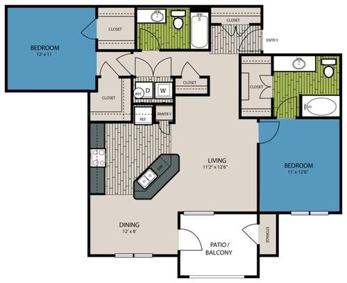 1,119 sq. ft. B4 floor plan