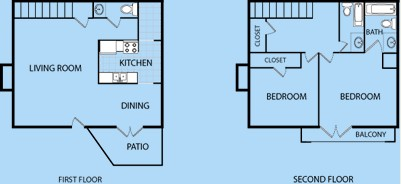 1,283 sq. ft. B3/B4 floor plan