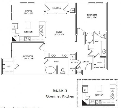1,185 sq. ft. B4 floor plan
