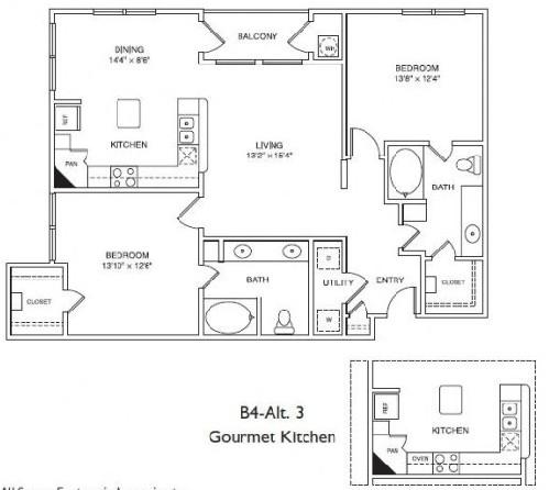1,185 sq. ft. B4 floor plan