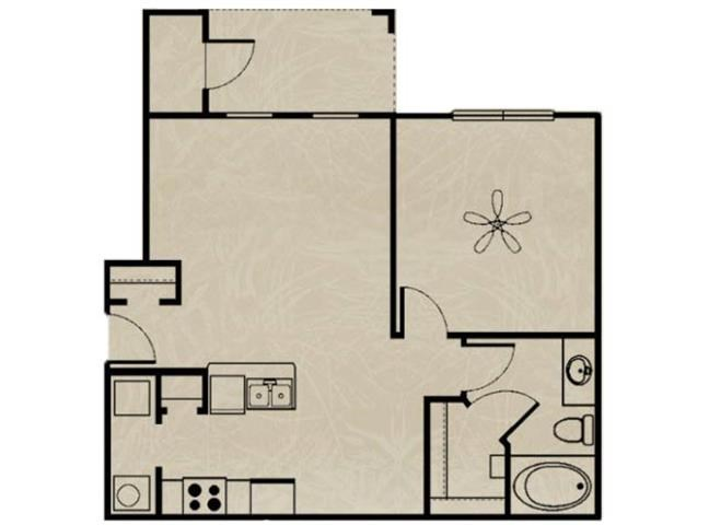 692 sq. ft. WNRA1 1X1 floor plan