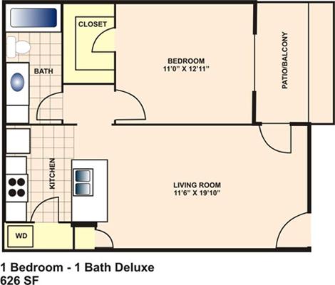 626 sq. ft. B floor plan